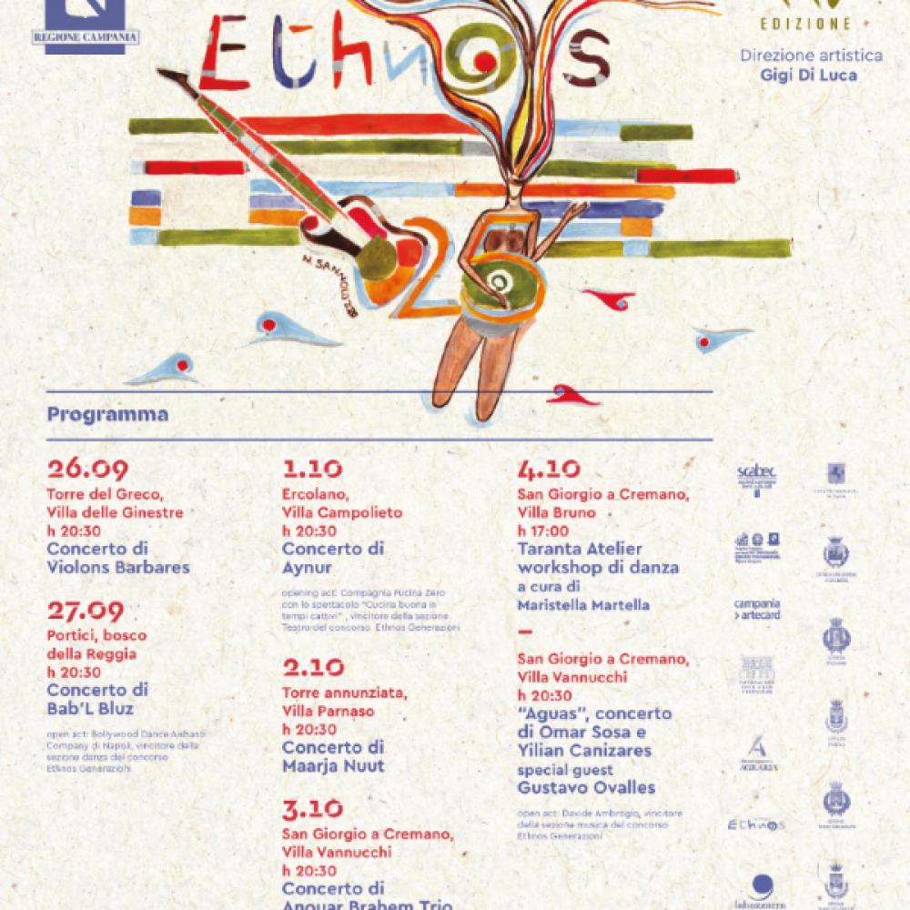 ETHNOS, la XXV edizione del festival internazionale della musica etnica diretto da Gigi Di Luca, dal 26 settembre al 4 ottobre in cinque città vesuviane